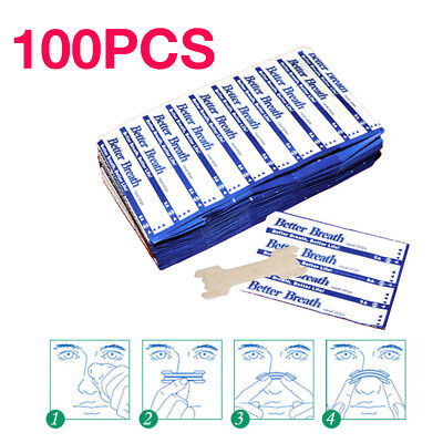 100pcs Sleeping Breath Anti Aid Nasal Nose Strips Better Snoring Right Easy Stop