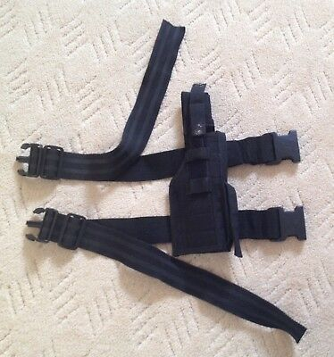 Black SWAT style thigh pistol holster webbing ideal for Airsoft