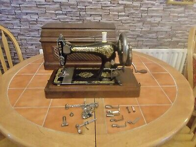 Antique Singer Handcrank Sewing Machine In Case Dating 1894