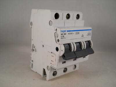 Hager MCB 63 Amp Triple Pole 3 Phase Circuit Breaker Type C 63A 463363 NC363
