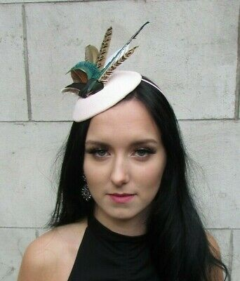 Blush Light Pink Green Peacock Pheasant Feather Hat Fascinator Races Hair 7700