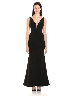 XSCAPE Women's Deep V-Neck Gown With Sheer Sides BLACK/NUDE SIZE 4