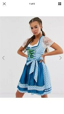 Stockerpoint Blue & Green Printed Dirndl w/ Skirt & Apron - Size 6 AS BRAND NEW