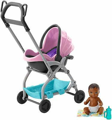 Barbie Skipper Babysitter Baby Doll And Removable Seat Playset Stroller New