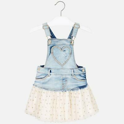 Mayoral Girls Combined dungaree skirt with tulle /Natural Sleeveless polo shirt