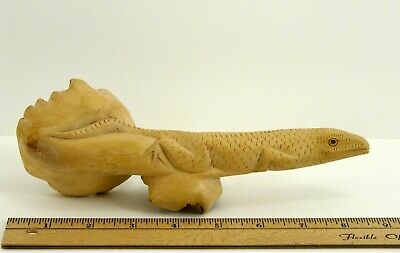 "Parasite Wood Hand Carved Wooden Lizard 9"" Reptile Figurine Art Collectible VTG"