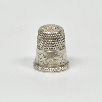 Old Antique Simons Bros. Sterling Silver Landscape Country Village Scene Thimble