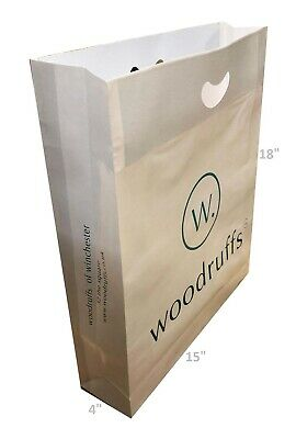 100 Strong Designer Paper  Carrier / Gift Bags Misprinted Large Punch Handle