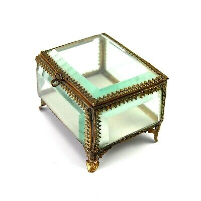 ANTIQUE French Victorian Ormolu Jewelry Box Casket Beveled Glass Gold Dore