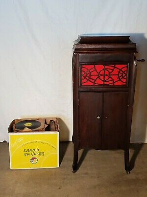 Antique MANOPHONE Victrola Mahogany Phonograph Working w/146 Records