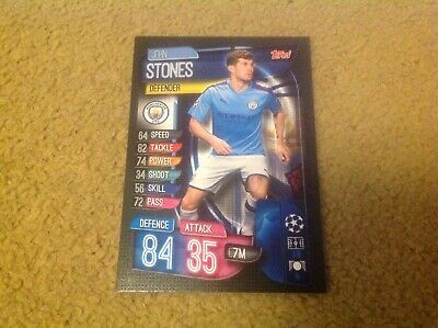 Match Attax 2019/20 John Stones Man City base card Mint New & Rare POST FREE UK