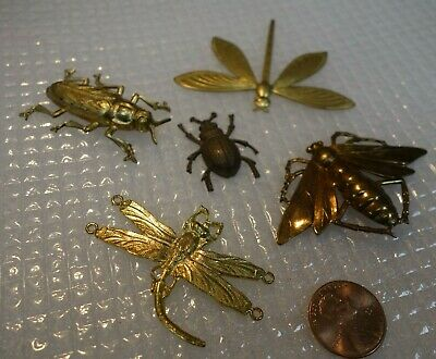 Lot of 5 VINTAGE CZECH RAW BRASS STAMPING Egyptian  Scarab BUGS INSECTS