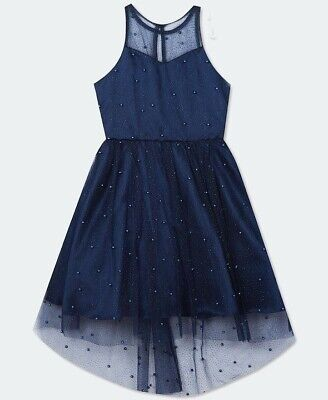 RARE EDITIONS Girls Navy Glitter Mesh & Pearl Layered Party Dress Age 8/10 GD661