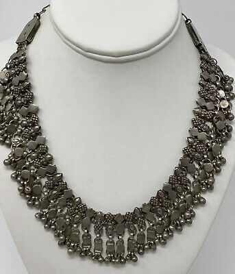 STUNNING Ethnic Egyptian Collar  Deco Bedouin Coin Silver Bell Bib Art Necklace