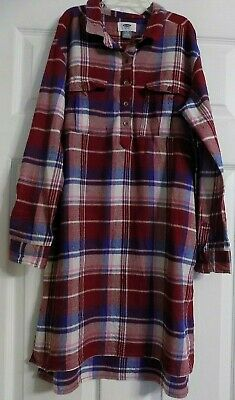 Girl's Old Navy Plaid Long Shirt Or Tunic Top Adjustable Long Sleeve Size 14 XL