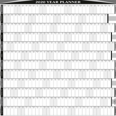 2020 - 12 Month Yearly  Wall Planner/Calendar  5 Sizes / 9 Col/Bus/Pers-Square