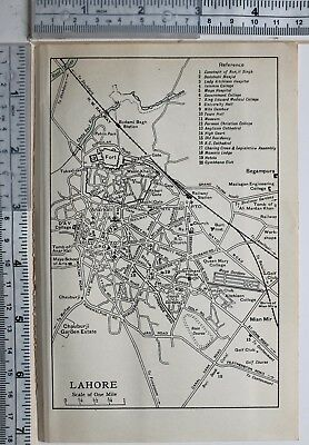 1959 India Indian Pakistan Tourist Map Lahore College Town Hall Courts Cathedral