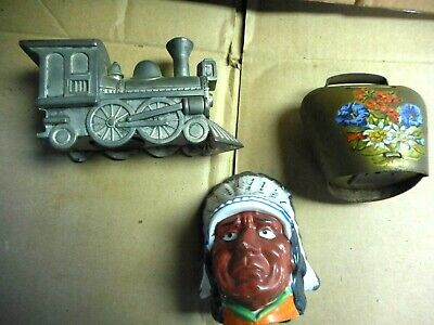 2  Antique Cast Iron Still Coin Banks & Train engine ,beii  INDIAN  pottery