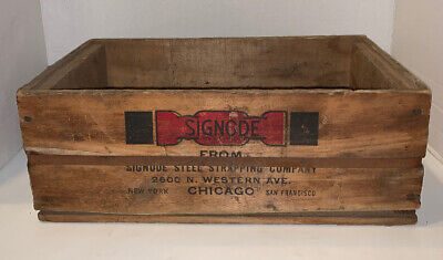 """Vtg SIGNODE STEEL SCRAPPING COMPANY Chicago Wood Box 14.25""""x8.5""""x5.5"""""""