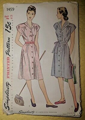 B38 Maid Wife House Dress Uniform Vintage 1940's Simplicity 1459 Sewing Pattern