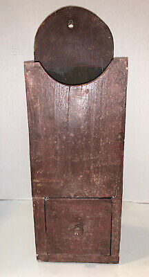 Very Fine PRIMITIVE FOLK ART  Wall Mount CANDLE BOX Vintage Pine Amish Pa