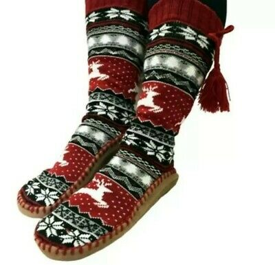 Muk Luks Women's Christmas Reindeer Tall Slipper Socks Red S/M NEW