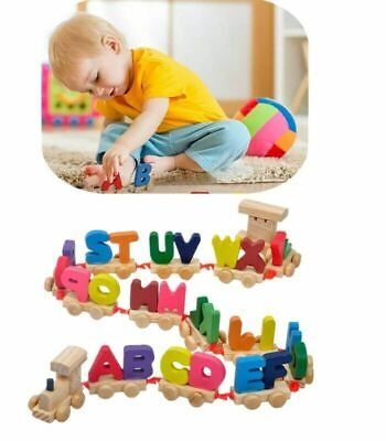 Colorful Wooden Alphabet Train Letters Educational Toy for Kids Christmas  Gift