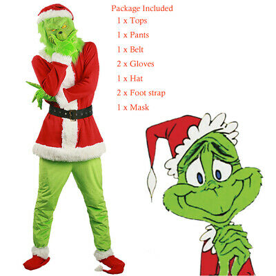 HOT The Grinch Adult Costume Cosplay How the Grinch Stole Christmas Outfits Set