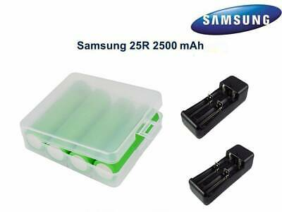 4 Samsung INR 18650 25R 2500mAh Rechargeable Flat Top High Drain Battery+Charger