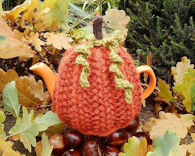 Hand Knitted Autumn Pumpkin - for small 2 cup teapot