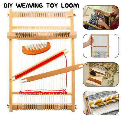 Traditional Wooden Weaving Loom Machine Pretend Play Toy Kid Knitting Craft AU