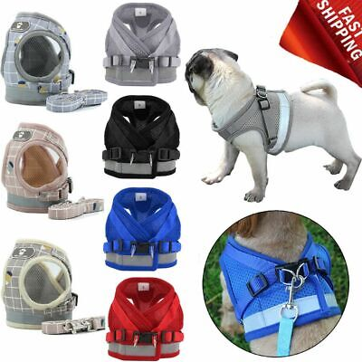 Small Pet Dog Vest Chest Puppy Harness Breathable Mesh & Leash  Strap Set XS-XL