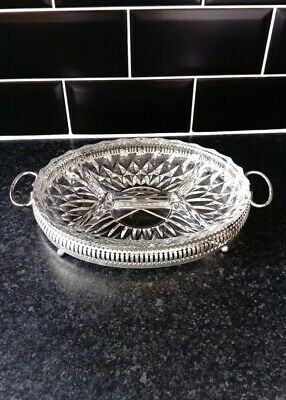 Beautiful Vintage Cut Glass clear crystal Serving Dish 4 sections, silver stand