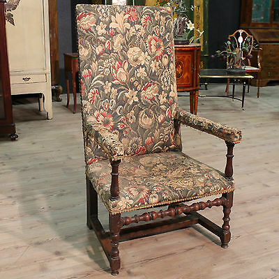 Antique Armchair Chairs Living Room Wooden Nut Spool Fabric Floral 800 XIX