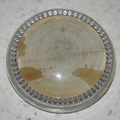 vintage round glass souvenir Washington DC paperweight faded picture of capitol