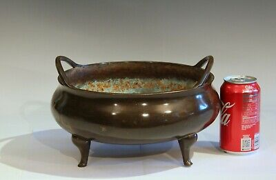 Antique Old Chinese Bronze Large Censor Footed Bowl Antique Patinated