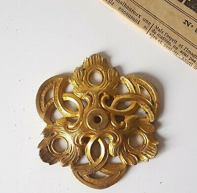 Large vintage brass rosette Ligthing parts, hardware fixture 3.54 inches
