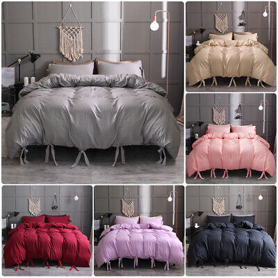 Solid Tie Strap Duvet Cover Comforter Bedding Bed Pillowcase Set Twin Queen King