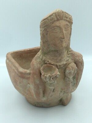 Ancient archaic Greek art terra-cotta pinkish red clay 6th century bc rhyton