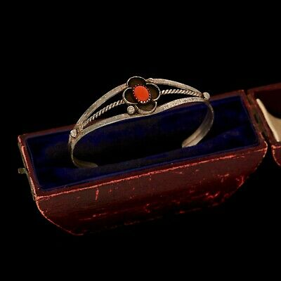 Antique Vintage Sterling Silver Native Navajo Old Pawn Red Coral Cuff Bracelet