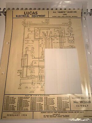 Mg Magnette Saloon 1954 Wiring Diagram No.w25520