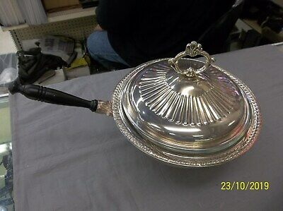 "Vintage Electric Silver Plated Footed 10"" Casserole Warmer 3 QT Pyrex bowl"