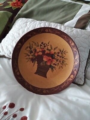 Decorative Plate Fruit in Basket colorful with Gold background and burgundy rim