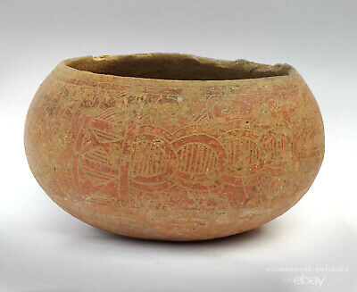 Pre-Columbian Marajoara Culture Pottery Bowl Mayan Period Carved (500-900 CE)
