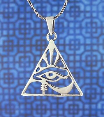 Eye of Horus Necklace Triangle Egyptian Wedjat Udjat Ra Sterling Silver wh495