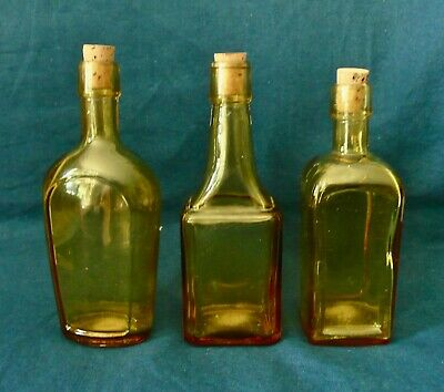 """Set of 3 Wheaton Amber Glass Bitters/Paneled 6"""" Bottles Excellent Condition"""