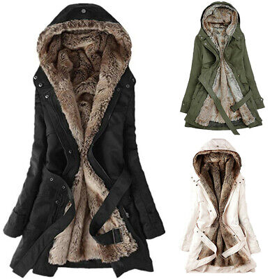 Fashion Women Ladies Fur Lining Coat Winter Warm Thick Long Jacket Hooded Parka