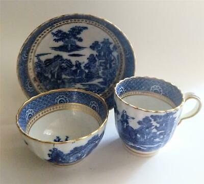 Antique Chinese Export Blue & White Trio Cup & Saucer