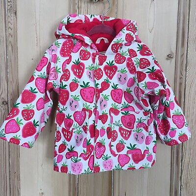 Hatley Girls Strawberry Raincoat, 6-12 Months