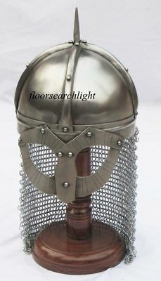 Medieval Crusader Knight Norman Viking Helmet with Fitted Chain mail Aventail VG